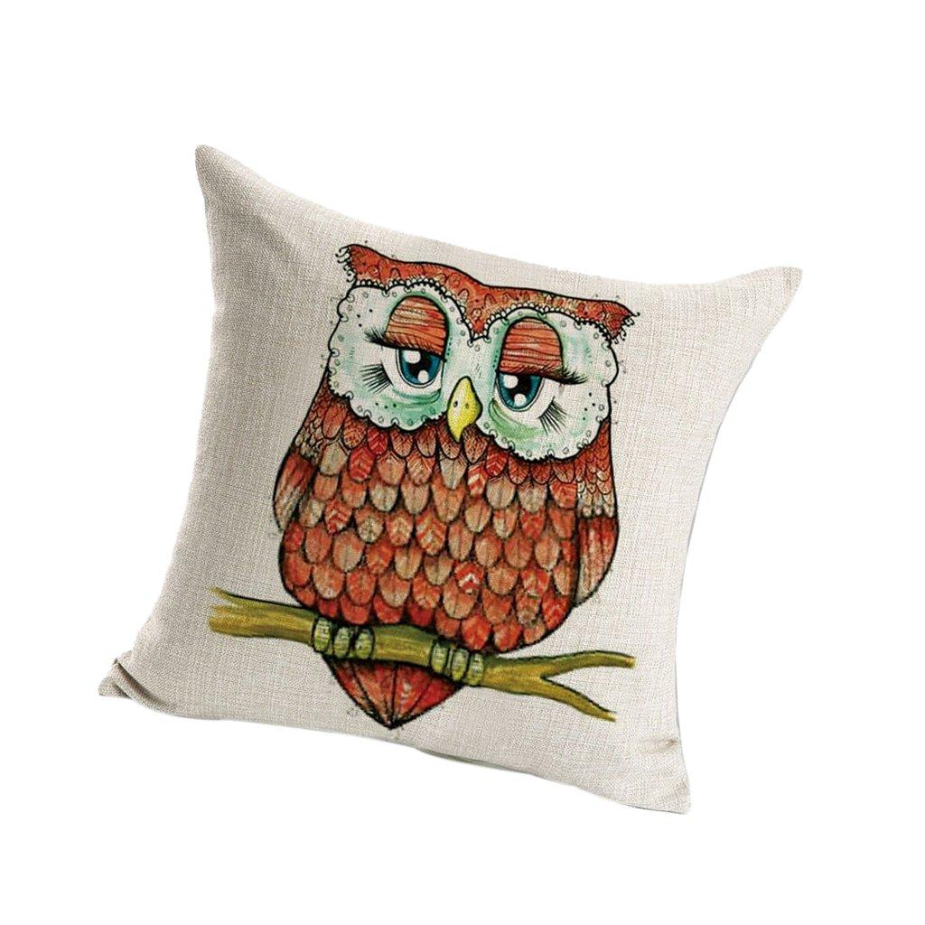 Green Owl MagiDeal Owl Linen Square Pillowcase Home Car Decor Cushion Cover Pillow Slip