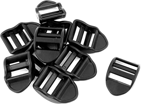 "10 x BLACK PLASTIC DELRIN 3 BAR SLIDES BUCKLES FOR WEBBING 50mm /""D/"""