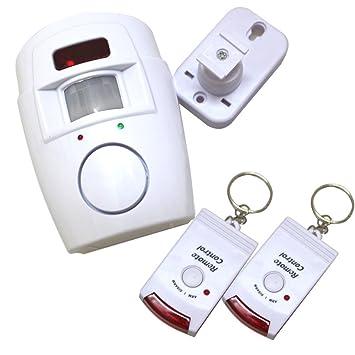 Alarma con sensor de movimiento con 2 llaves de control remoto, soporte de pared ajustable incluido (ideal para casetas, casas, garajes y caravanas)