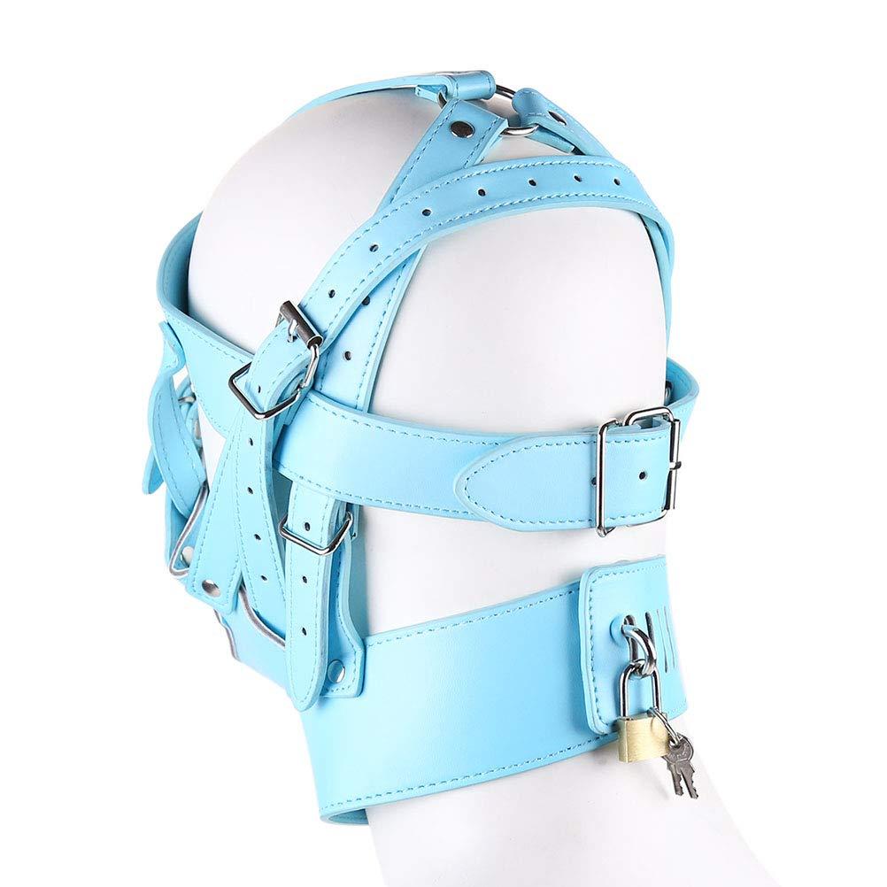 BESTOYARD Bondage Fetish Mask Adult Sky-azul Cosplay Disfraz Hood Headgear para parejas Sky-azul Adult 362b11
