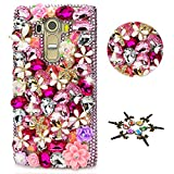 STENES LG Aristo 2 Case - STYLISH - 100+ Bling - 3D Handmade Flowers Floral Butterfly Design Protective Case For LG Aristo 2 - Red