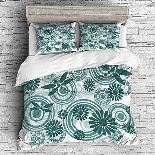 (QUEEN Size Cute 3 Piece Duvet Cover Sets Bedding Set Collection [ Dragonfly,Abstract Circular Spiral Flowers Chamomile Daisy Figures Modern Print Decorative,Petrol Blue White ] Comforter Cover Set for)