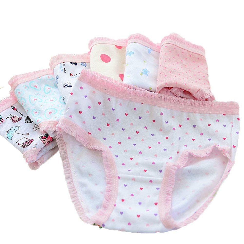 Adiasen Baby Big Girls' Toddler Kid Cute 6 Packs Cotton Underwear Briefs Hipster Knickers