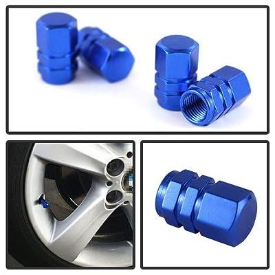iJDMTOY (4) Tuner Racing Style Blue Aluminum Tire Valve Caps (Hexagon Shape): Automotive