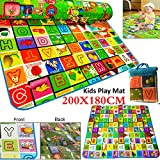 Safekom 200x180cm 2 Side Children Child Kids Crawling Educational Game Baby Play Mat Soft Foam Floor Carpet Rug Picnic Exercise Training Playmat with Carry Case - 1 Year Warranty Same Day Dispatch