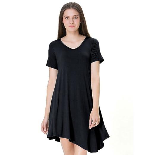 ZKHOECR T Shirts Dresses for Women Ladies V Neck Short Sleeve Slim Fit Tops  Lightweight Comfy dc94efe66