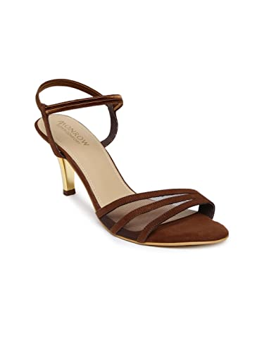 5689cbe95fd97 Monrow Brown PU Elastic Ankle Strap Kitten Heel for Womens and Girls ...