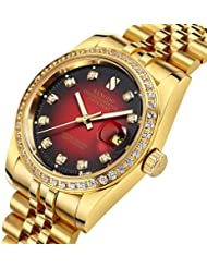 Gosasa Red Dial Synthetic Crystal Mens Gold Stainless Steel Band Automatic Mechanical Watches