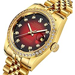 Gosasa Red Dial Diamonds Men's Gold Stainless Steel Band Automatic Mechanical Watches