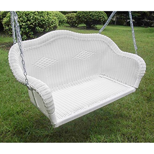International Caravan 3183-WT-IC Furniture Piece Resin Wicker Hanging Loveseat Swing