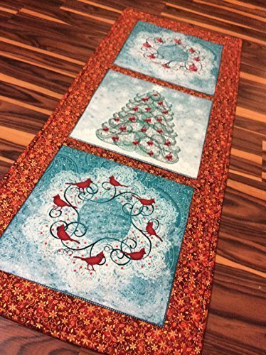 Christmas Metallic Classy Table Runner Table Topper in Red Teal and White Wreath Tree Cardinals Handmade Homemade Quilt Quilted