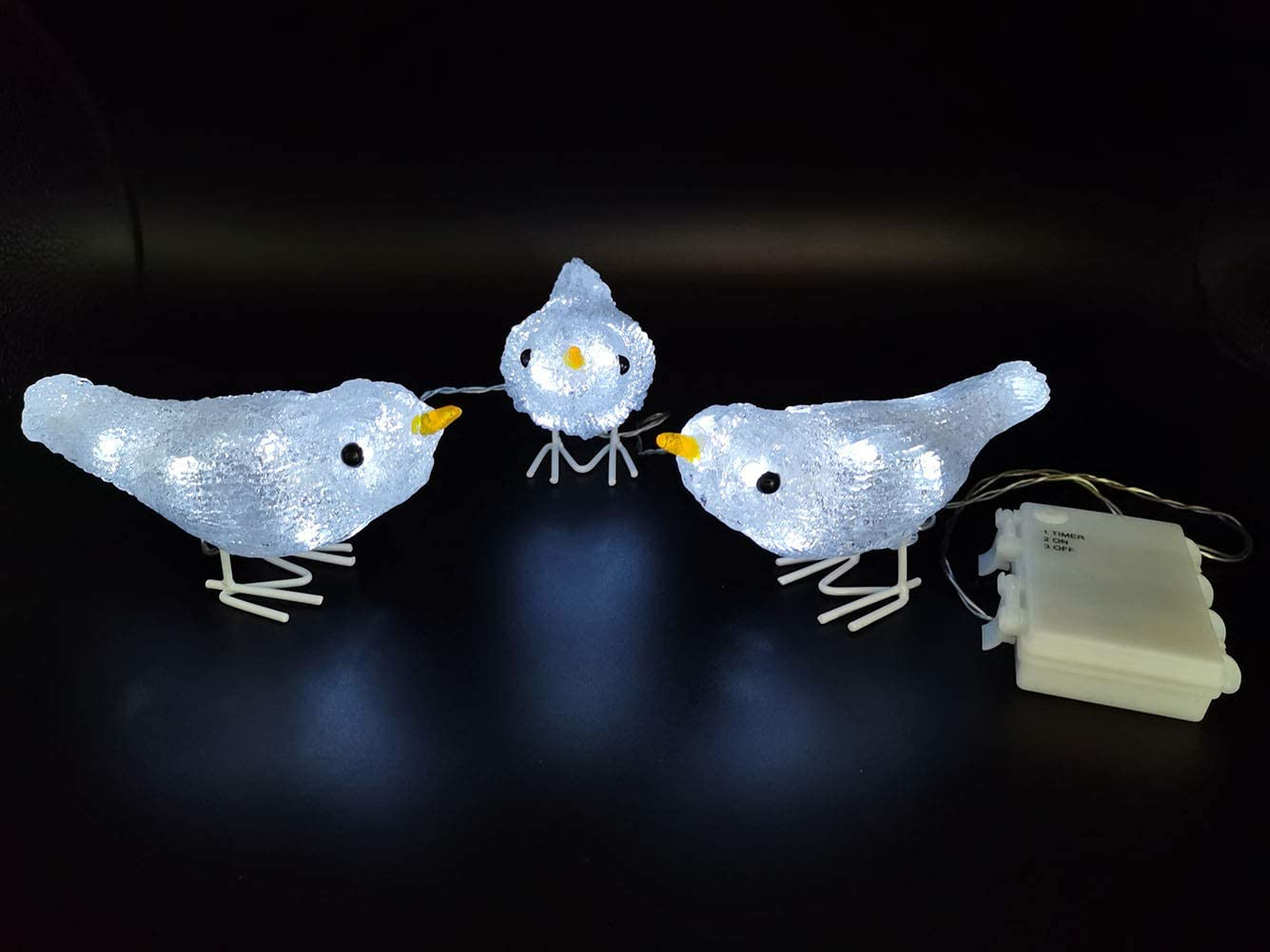 Acrylic Figurines 3 PCS Birds Timer Led Light Indoor Outdoor Decorations for Yard Wedding Garden Party Shop Bar Cute Birthday Gifts Battery Operated G-B001A
