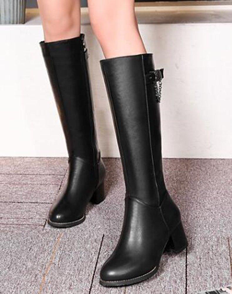 Zapatos de mujer clásicos con puntera redonda IDIFU Mid Chunky Tacones altos  con cremallera completa Botas altas de montar a la rodilla Negro 0a21d77d8c1e4