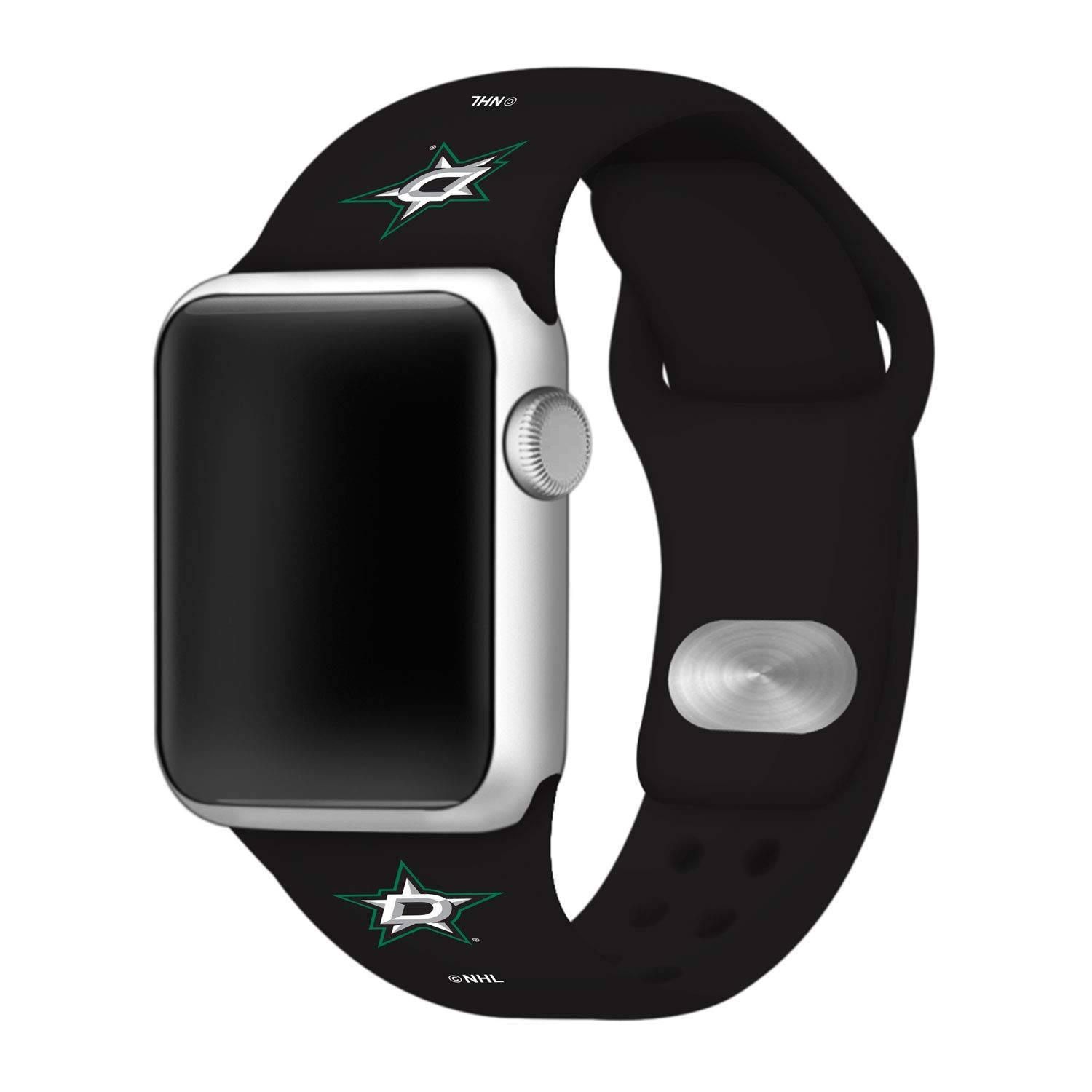 Game Time Dallas Stars Silicone Sport Band Compatible with Apple Watch - (42mm/44mm BLK)