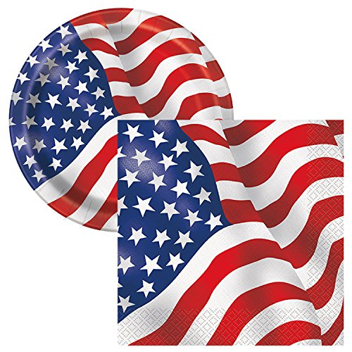 Plate Flag Set (Patriotic USA American Flag Party Tableware Plate and Napkin Set Serves 16)