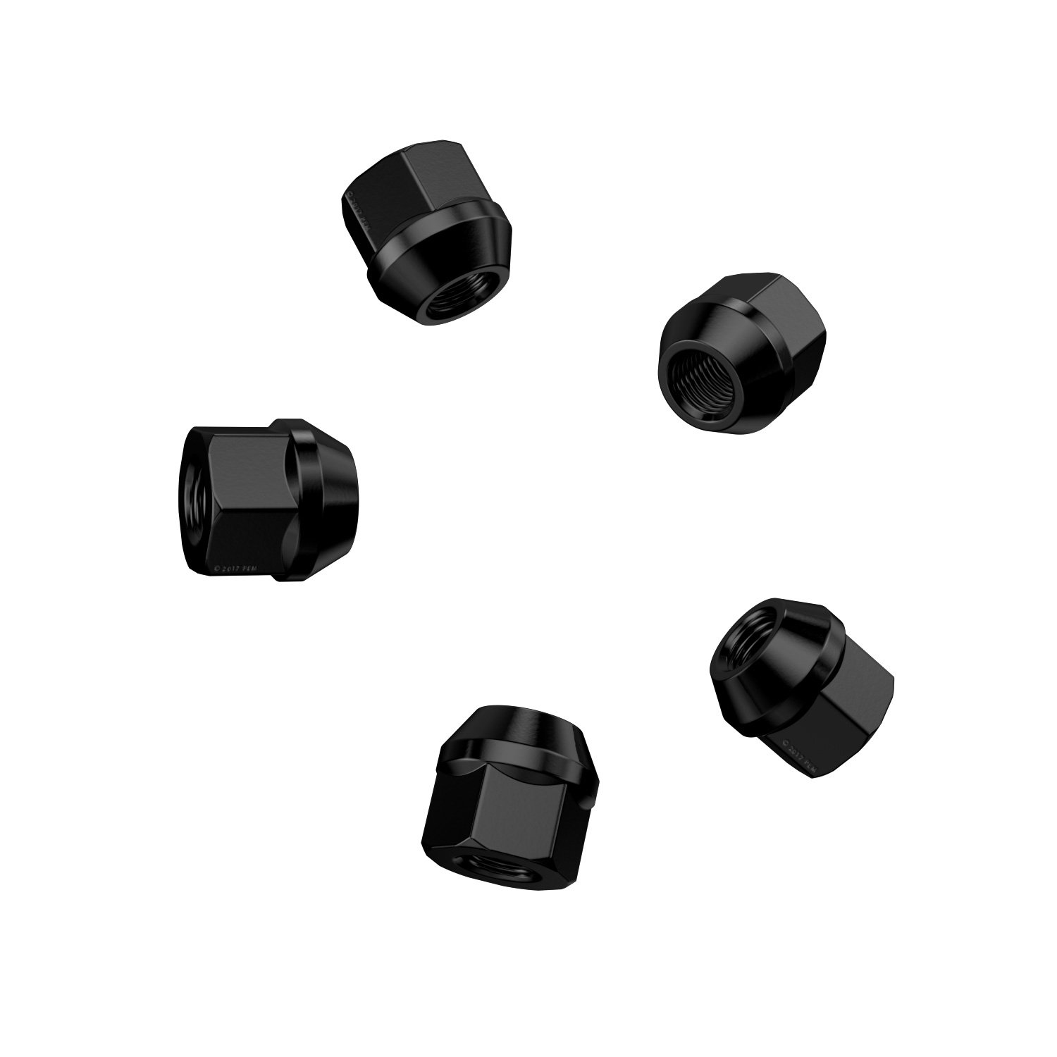 20pc Black Open End Lug Nuts - 7/16''-20 Thread Size - 0.85'' Length - Cone Conical Taper Acorn Seat - Installs with 19mm or 3/4'' Hex Socket by Precision European Motorwerks (Image #7)