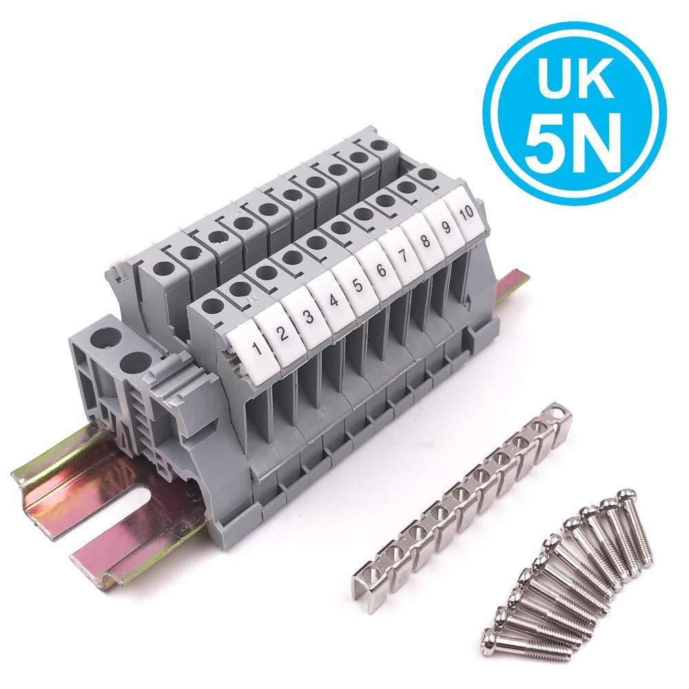 Erayco Assembly UK5N 10pcs DIN Rail Terminal Blocks Kit with Fixed Bridge, 4 mm²,24-10 AWG, 30 Amp, 600 Volt by Erayco