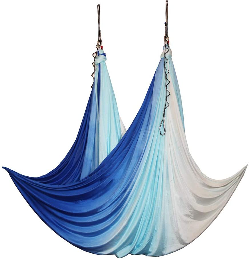wellsem Aerial Yoga Hammock Aerial Pilates Silk Yoga Swing Set Include Carabiners Daisy Chain, Pose Guide 5.5 Yards Set