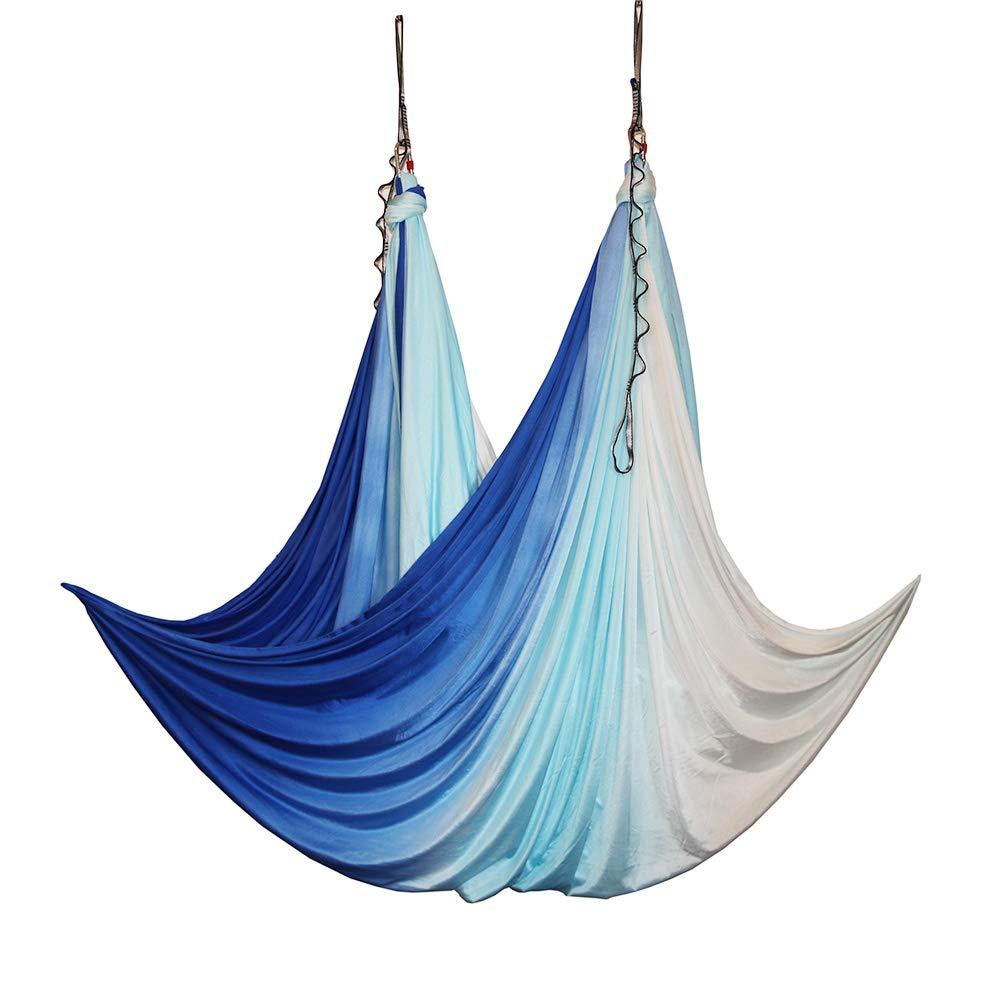 wellsem Aerial Yoga Hammock Aerial Pilates Silk Yoga Swing Set Include Carabiners Daisy Chain, Pose Guide 5.5 Yards Set (Blue Sea Color)