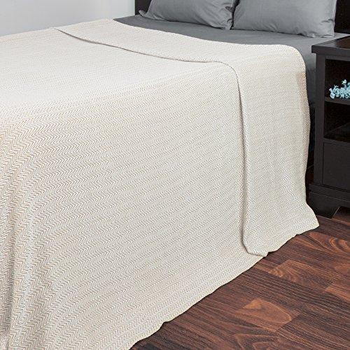 Blanket-100% Cotton King Chevron Luxury Soft Blanket by Lavish Home  - Taupe