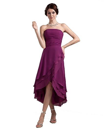 Winey Bridal Strapless Plum High Low Bridesmaid Dresses Cheap Bridal