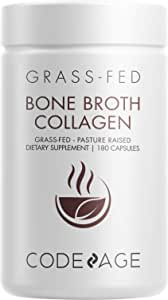 Code Age Organic Multi Bone Broth Collagen Capsules, 180 Count On-The-Go Protein Supplement Joint Comfort, Flexibility And Cartilage Health