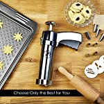 Earth's Dreams Cookie Press Gun Kit - Cleaning Brush Included: Dough Churro Maker, Spritz Biscuit Stainless Steel Decorating Set With 20 Shape Discs And 8 Icing Tips - Baking Supplies 15 BEAUTIFUL HOMEMADE COOKIES: You can now create stunning spritz cookies at home with this unique biscuit decorating kit in your favourite baking supplies! The cookie press gun comes with 20 different design discs, so you can mould beautiful sugar cookies. We also provide you with 8 metal icing tips for amazing creations and professional results. PREMIUM QUALITY MATERIALS: The cookie maker is made with the best quality materials for unique durability, amazing results and easy use. The biscuit presser is made with stainless steel and strong plastic, so you can rest assured that you're getting the best. All the materials used are odorless and non-toxic, so they can be perfectly safe for you and your family! COMFORTABLE AND EASY TO USE: The sugar cookie gun has an ergonomic design that will give you a strong and comfortable grip so you can use it with ease. The biscuit press gun has a unique trigger design so all you have to do is press it and get stunning homemade cookies! The cookie maker will give you fast results for maximum convenience.