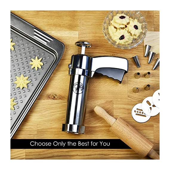 Earth's Dreams Cookie Press Gun Kit - Cleaning Brush Included: Dough Churro Maker, Spritz Biscuit Stainless Steel Decorating Set With 20 Shape Discs And 8 Icing Tips - Baking Supplies 6 BEAUTIFUL HOMEMADE COOKIES: You can now create stunning spritz cookies at home with this unique biscuit decorating kit in your favourite baking supplies! The cookie press gun comes with 20 different design discs, so you can mould beautiful sugar cookies. We also provide you with 8 metal icing tips for amazing creations and professional results. PREMIUM QUALITY MATERIALS: The cookie maker is made with the best quality materials for unique durability, amazing results and easy use. The biscuit presser is made with stainless steel and strong plastic, so you can rest assured that you're getting the best. All the materials used are odorless and non-toxic, so they can be perfectly safe for you and your family! COMFORTABLE AND EASY TO USE: The sugar cookie gun has an ergonomic design that will give you a strong and comfortable grip so you can use it with ease. The biscuit press gun has a unique trigger design so all you have to do is press it and get stunning homemade cookies! The cookie maker will give you fast results for maximum convenience.