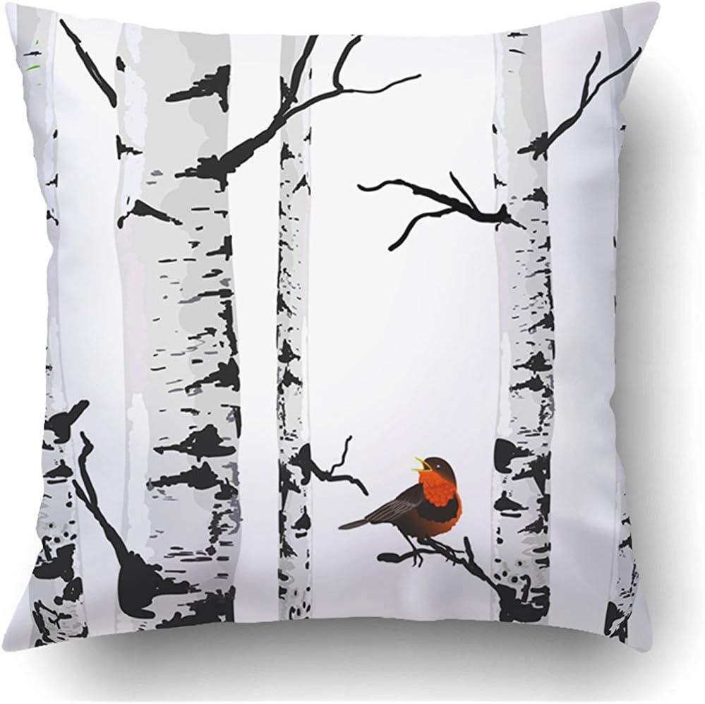 Winter 2 Teiliges Kissenbezugs Set Bäume Gimpel Vögel