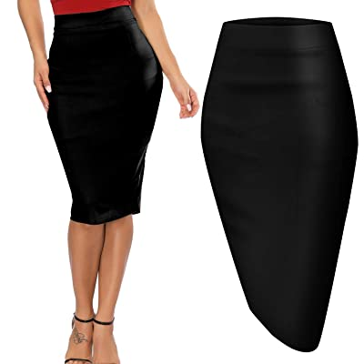 Womens Pencil Skirt for Office Wear Knee Length Vintage Skirts Hips-Wrapped Skirts - Black XXL: Clothing