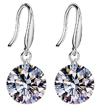 Women's Earrings 925 Sterling Silver Swarovski Crystal Elements Drop Earings for Women, Silver Plated