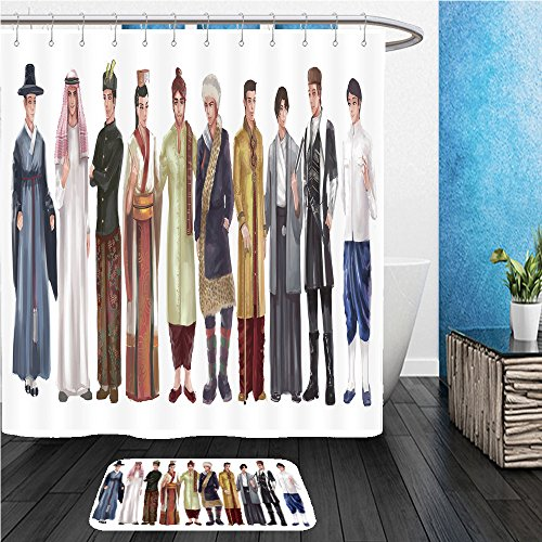 Different National Costumes Of Different Countries (Beshowereb Bath Suit: ShowerCurtian & Doormat cartoon illustration of asian male man traditional religion and national costume dress clothing 357508559)