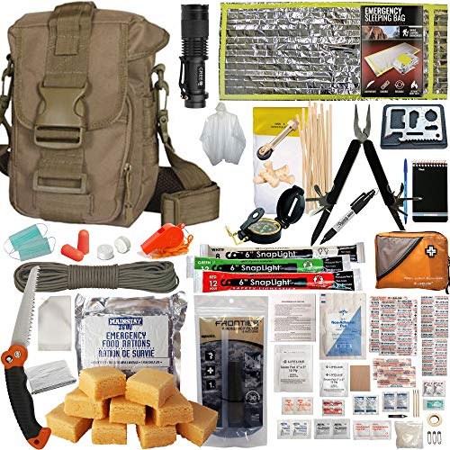 Prepper's Favorite: Emergency Get Home Bag with First Aid Kit, Water Filter, Food, Fire, Tools and Shelter. Ideal Compact Bug Out Bag, Earthquake Kit, EDC or 72 Hr Kit. Tactical Shoulder Bag Model (Best Get Home Bag Backpack)