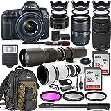 Canon EOS 5D Mark IV DSLR Camera w/24-105mm USM Lens Bundle + Canon EF 75-300mm III Lens, Canon 50mm f/1.8, 500mm Lens & 650-1300mm Lens + Canon Backpack + 64GB Memory + Monopod + Professional Bundle