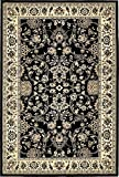 Unique Loom Kashan Collection Black 4 x 6 Area Rug (4' x 6')