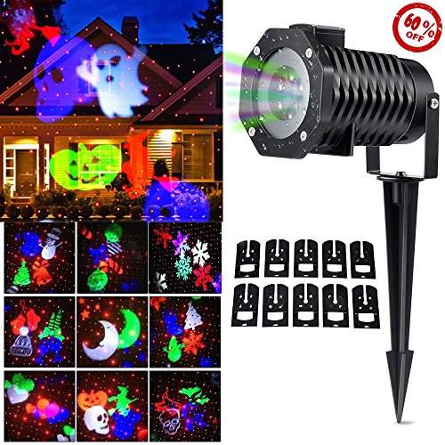 Christmas lights,Halloween Christmas Outdoor Night Snowflakes Projector Light Decorations,10 Slides LED Moving Landscape Spotlights,Party Holiday Festival Home Decor Garden Yard Tree (100 Floors Halloween Level 15)