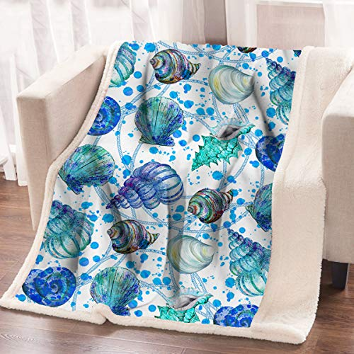 ARIGHTEX Coastal Beach Seashell Fleece Blanket Aqua Spiral