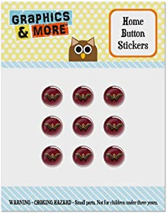Justice League Movie Wonder Woman Logo Set of 9 Puffy Bubble Home Button Stickers Fit Apple iPod Touch, iPad Air Mini, iPhone 5/5c/5s 6/6s 7/7s Plus