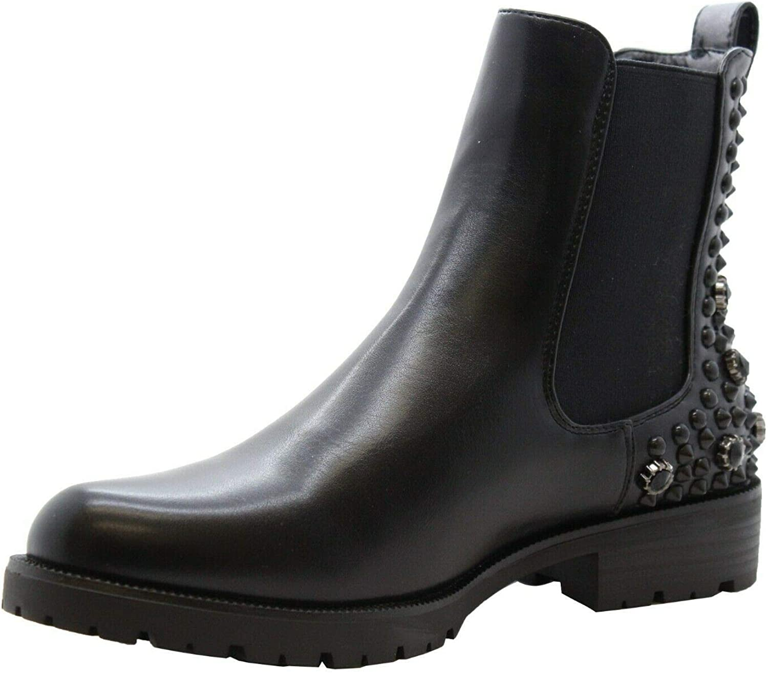 Womens Low Heel Block Studded Biker Goth Ankle Boots Shoes Size Zip Chelsea New