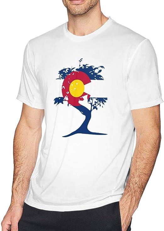 SUMT4men Camisa de Manga Corta con Cuello Redondo para Hombre con árbol bonsái japonés Colorado: Amazon.es: Ropa y accesorios
