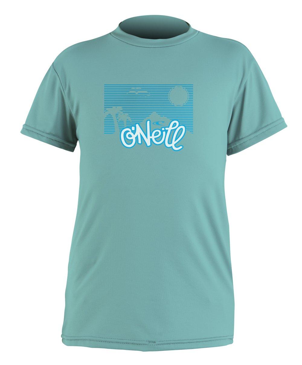 O'Neill Wetsuits Girl's Toddler Skins Short Sleeve Rash Guard T-Shirt, Spy Glass Green, 2