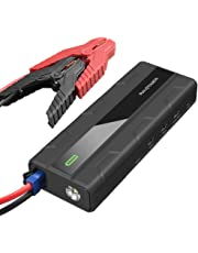 Powerbank Starthilfe RAVPower 14000mAh mit 1000A Spitzenstrom Autobatterie Anlasser 12V, Ladegerät mit Kompas, LCD Display und LED Taschenlampe für Laptop, Smartphone, Tablet und vieles mehr
