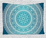 Ambesonne Turquoise Ombre Tapestry, Mandala Medallion Starry Design with Flower in Middle Ethnic Ethnic Art, Wall Hanging for Bedroom Living Room Dorm, 60 W X 40 L Inches, Dark Turquoise