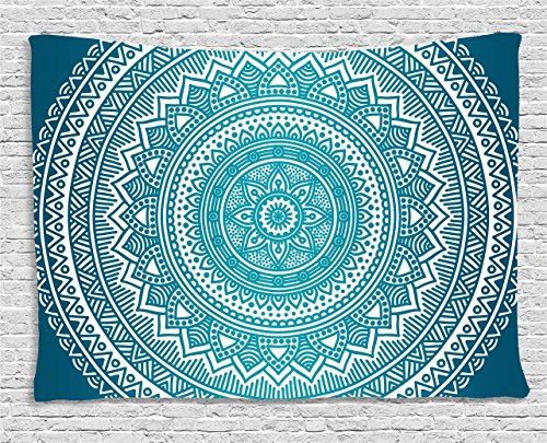Turquoise Ombre Tapestry by Ambesonne, Mandala Medallion Starry Design with Flower in Middle Ethnic Ethnic Art, Wall Hanging for Bedroom Living Room Dorm, 60 W X 40 L Inches, Dark Turquoise