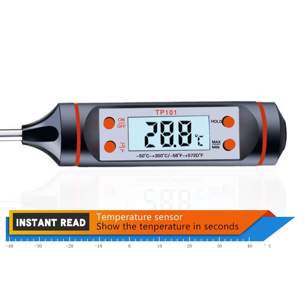Termómetro de cocina, yica Digital Termómetro presupuesto Thermomete inmediato de Leer con larga Sonda, pantalla LCD, ideal para asados, barbacoa, ...