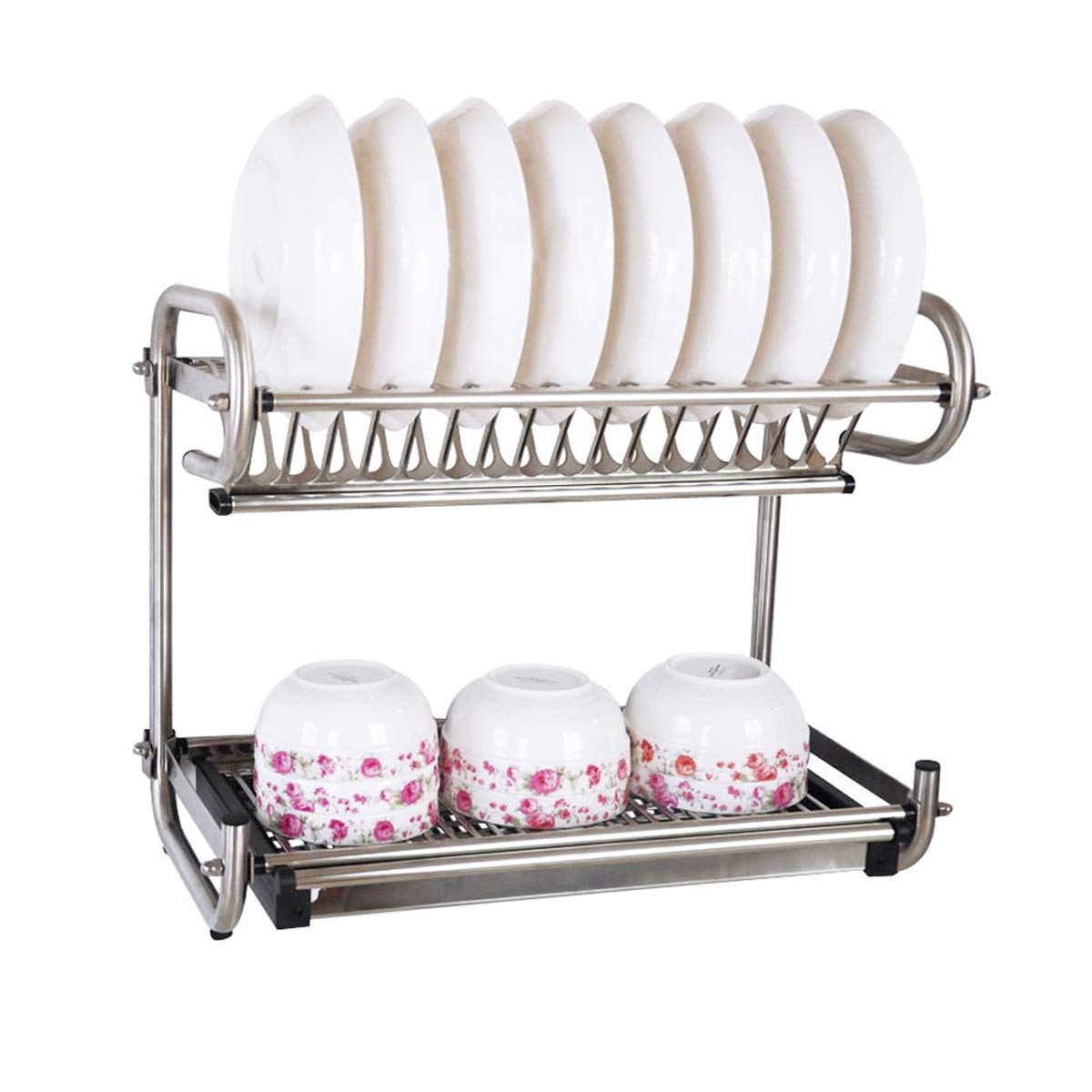 2-Tier Kitchen Cabinet Dish Rack Stainless Steel Wall Mount Dish Rack Bowls Utensils Drying Rack Dish Rack Organizer Rubber Leg Protector With Drain Board Tray