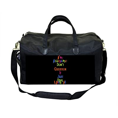 I'm Awesome Quote in Color PU Leather and Suede Weekender Bag