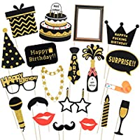 LUOEM Birthday Photo Booth Props Glitter Birthday Photo Props Birthday Supplies for 16th 30th 50th 60th Birthday Decorations, Pack of 20
