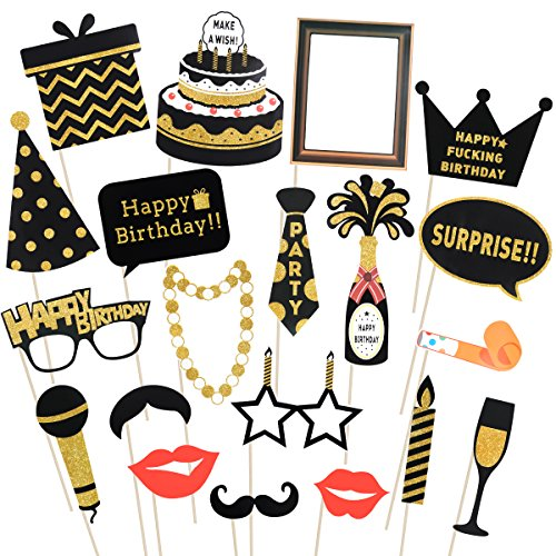 LUOEM Birthday Photo Booth Props Happy Birthday Props Glitter Birthday Party Photo Booth Props with Wooden Sticks Birthday Party Supplies, Pack of 20