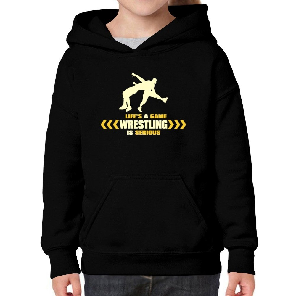 Teeburon Life's a game, Wrestling is serious Girl Hoodie by Teeburon